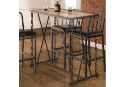 100692 Rustic Bar Table with Industrial Chain Links