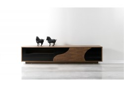 101F Modern TV Stand in Walnut and Black Finish