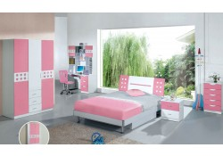 Modern Girls Bedroom Set with Twin or Full Platform Bed 102B