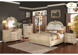 Palace Antique White Traditional Sleigh Bedroom Set