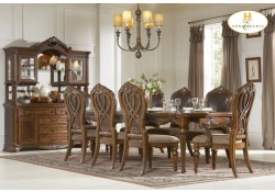 1437-120 Golden Eagle Collection Classic Wood 7 Piece Dining Set