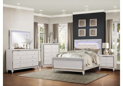 Homelegance 1845LED Alonza Bedroom Set in White Color