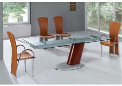 Large Expandable Glass Pedestal Modern Dining Set 2079-3/4083