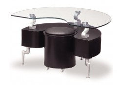 Unique Black Contemporary Side Table & Stool