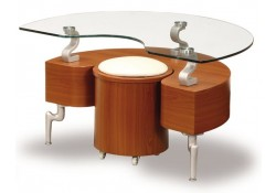 Unique Cherry Contemporary Side Table & Stool