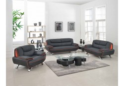 405 Modern Living Room Set in Black Leather