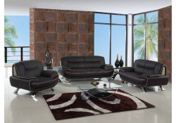 405 Modern Living Room Set in Brown Leather