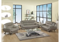 405 Modern Living Room Set in Grey Leather by UFG