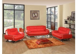 405 Modern Living Room Set in Red Leather by UFG