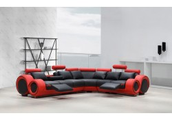 Divani Casa 4087 Reclining Sectional Sofa in Black and Red