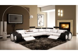 VGEV4087-6 Two Tone White Black Leather Contemporary Reclining Sectional