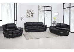 4572 Modern Living Room Set in Black Leather