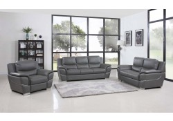 4572 Modern Living Room Set in Grey Leather