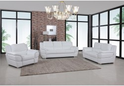 4572 Modern Living Room Set in White Leather by United