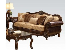 Remington Living Room Set in Leather and Fabric