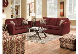 Simmons 5159 Sofa Loveseat Set Malibu Wine