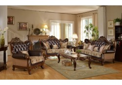 601 Living Room Set in Brown Leather and Fabric
