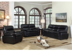 Black Leather Living Room Set 604BL Meridian Furniture