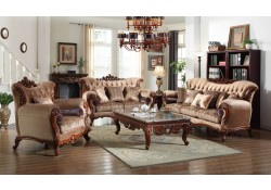 605 Traditional Living Room Set in Beige Fabric