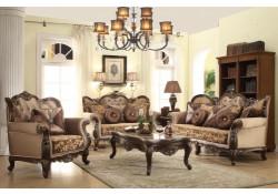 Cherry Wood Fabric Classic Living Room Set 610
