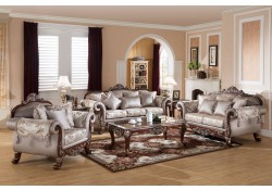 611 Traditional Living Room Set Cherry Wood Trim