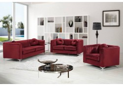 Isabelle 612 Classic Living Room Set in Red Velvet