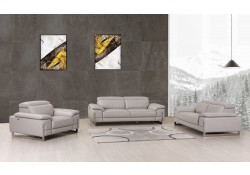 Divanitalia 636 Living Room Set in Light Gray Leather