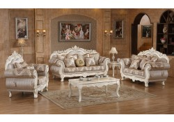 Antique White Wood Trim Fabric Living Room Set 691