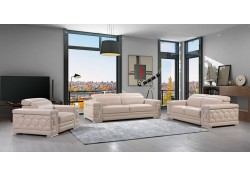 Divanitalia 692 Living Room Set in Beige Leather