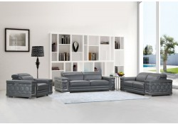 Divanitalia 692 Living Room Set in Gray Leather