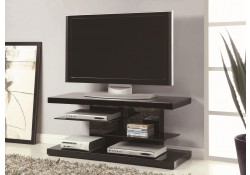 700840 Glass Shelves Black High Gloss Wood Modern TV Stand