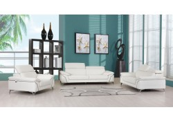 Divanitalia 727 Modern Living Room Set in White Leather