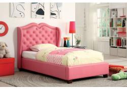 Monroe Platform Bed in Pink Upholstery
