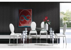 White Solid Wood Legs Glass Top Dining Room Set - Made in Spain
