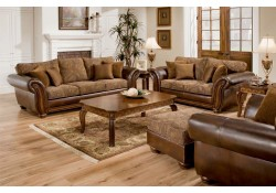 8104 Simmons Vintage Fabric Leather Wood Sofa Set - Queen Bed