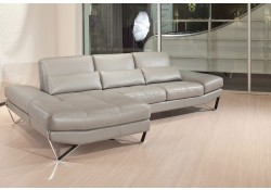 833 Sectional Sofa in Grey Italian Leather by Nicoletti