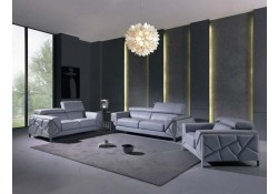 Divanitalia 903 Living Room Set in Light Blue Leather