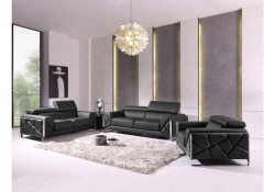 Divanitalia 903 Living Room Set in Gray Leather