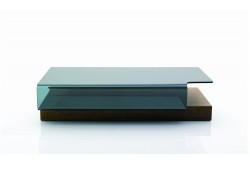 Walnut Wood Clear Glass Modern Coffee Table 953A