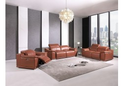 Divanitalia 9762 Reclining Living Room Set in Camel Leather