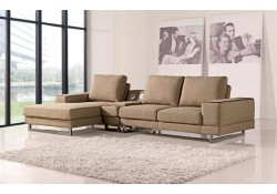 A1374 Modern Sectional Sofa in Beige Fabric with Speakers
