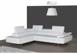 A761 Contemporary Sectional Sofa in White Leather