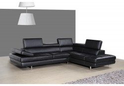 A761 Contemporary Sectional Sofa in Black Leather