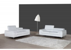 A973 Modern Living Room Set in White Italian Leather