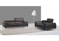 A973 Modern Living Room Set in Grey Italian Leather