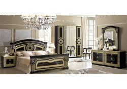 Aida Italian Bedroom Set in Black and Gold Finish