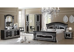 Aida Italian Bedroom Set in Black and Silver Finish