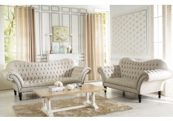 7202 Alina Beige Tufted Fabric Living Room Set