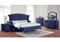 Alzir Blue Bedroom Set with Crystals Tufting