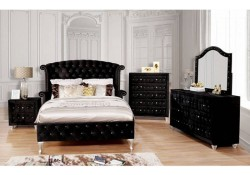 Alzire Bedroom Set in Black Velvet and Crystals